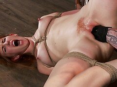 Redhead Slave Gets Her Bushy Cunt Fisted Rough and Fucked with Huge Toys