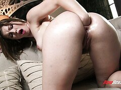 Ella Nova Fists her Ass then rides on a Huge Dildo