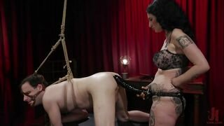 Loser Slave Gets Ass Fucked Hard by Dominatrix in Femdom Strapon Scene