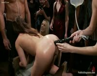 Anal Fisting Gangbang Whores get Their Holes Destroyed in Pubic Bar