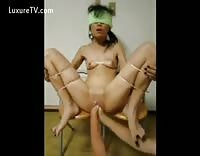 Blindfolded  Amateur Bitch Getting Double Fisting Big Insertion