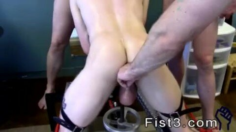 Gay Fucking and Fisting After He's Spread With Fists, He Takes A Naked Pipe In